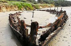 The remnants of the 310-ton Buster periodically reappears on Woolgoolga Beach.