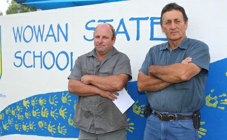 STOP THE WASTE: Wowan State School P&C; members Brian Moretti and Sib Torrisi are fighting to stop the school getting ripped off under the Federal Government's Building the Education Revolution.