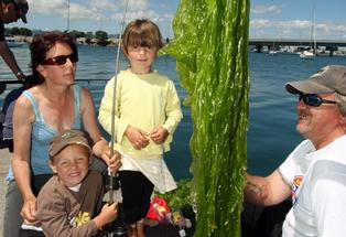 "The McLaughlin Family L-R: Antonia, Andre (5yo), Genevieve (4yo) and Brian show their catch of the day at the ""Kids gone fishing"" event - a huge amount of sea lettuce."