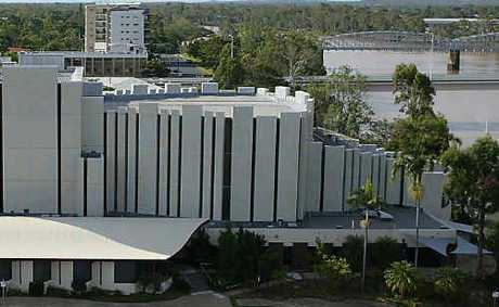 An aerial view over Rockhampton's Pilbeam Theatre and the city's art gallery.