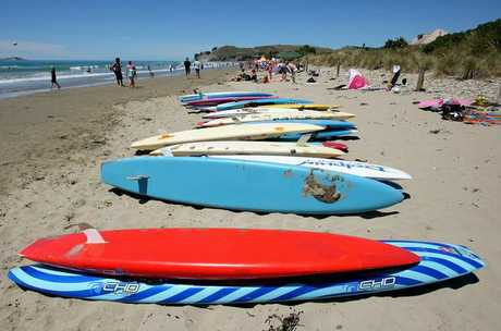 READY TO GO: Longboards await junior lifesavers at the Waimarama Surf Club open day.