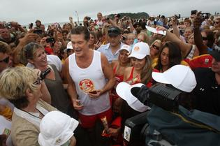 Still got it: Baywatch star David Hasselhoff was surprised by the huge reception fans gave him at Mt Maunganui.