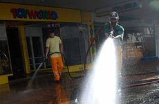 Rural firies start cleaning.