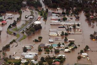 An aerial view shows flooded area in Chinchilla, southern Queensland.