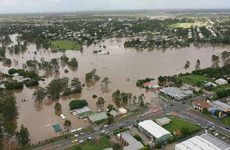 West Ipswich, looking west over Leichhardt and One Mile, is inundated by floodwaters.