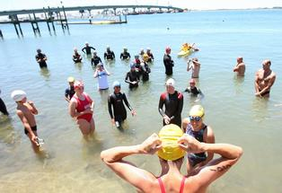 Swimmers getting ready for last year&#39;s Bridge to Bridge swim.