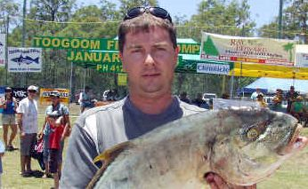 Robin Geissler of Craignish with the runner-up golden trevally of 7.47kg at last year's Toogoom fishing competitiion. This year's comp will be held on the Labour Day weekend, April 29 to May 1.