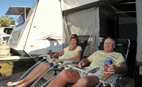Tasmanian 'grey nomads' Phil and Sue Sealy kick back and relax at a Sunshine Coast caravan park.