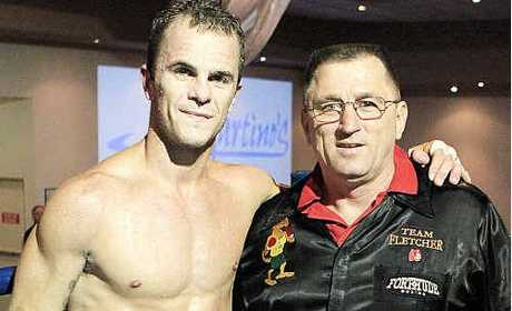 Jarrod Fletcher and his coach Steve Deller after Fletcher's impressive win in Sydney on Friday night.