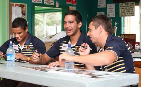 Brisbane Broncos trio Josh Hoffman, Corey Norman and Denan Kemp having a good time at Waterford Demons' sign-on day on Sunday. Photo: Griffith Thomas / The Reporter IR060211DEMONS11