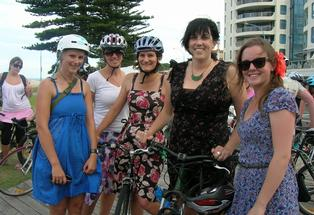 (from left) Kate Mackenzie, Stephanie Twaddle, Mel Whiting, Helen Creagh and Anna Butler from Bay of Plenty Regional Council take part in Frocks on Bikes at Mount Maunganui.