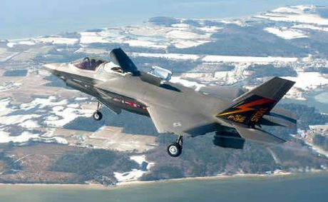An F-35 II Joint Strike Fighter prototype undergoes testing in America. 