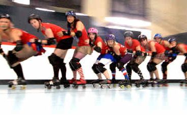 The ENRG Roller Derby team shows off its moves. 