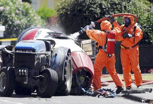 NASTY SUBSTANCE: Firefighters in protective suits clean up after a chemical spill in Flaxmere on Saturday.