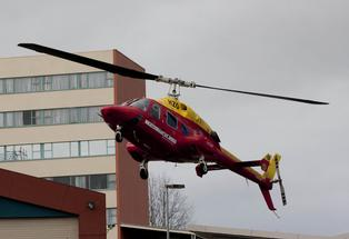 The Westpac Waikato Air Ambulance arrives at Waikato Hospital in Hamilton.