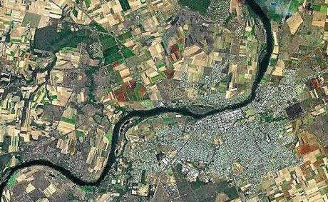 The satellite view of Bundaberg before the Christmas flooding.