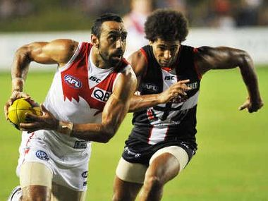 Dual Brownlow medallist Adam Goodes was sensational for Sydney, kicking four goals.