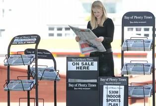 Bay of Plenty Times newspaper stands.