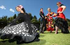 Flamenco dancers at the Multicultural Festival, the Historic Village. (l-r) Nadia Kruis, Katrina Thomas, Julia Banks and Jourdain Sanson.