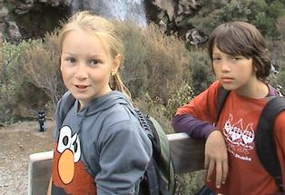Ruby Elliott and Reggae Taylor, Elsthorpe School pupils, at the base of Taranaki Falls on a recent camp.