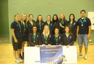 The Tauranga Girls senior A Volleyball team.