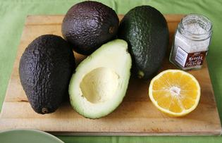 Add lemon and salt and pepper to mashed avocado for a lovely dip.