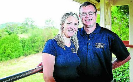 Copmanhurst's Rest Point Hotel publican Trent Mortimer and wife Sheena have a positive outlook on the bat colony. INSET: The view of the colony from the pub veranda.