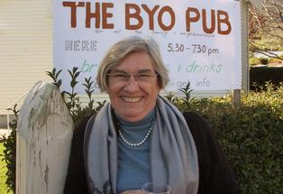 Jeanie Rickerby, who runs the BYO pub. Drinking and going to church do not normally go hand in hand.