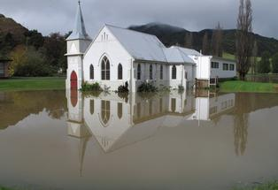 ADVANCING TIDE: Kaeo's Wesleydale Memorial Church is surrounded by floodwaters ... again.