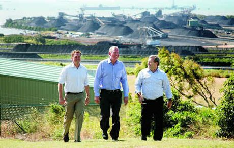 Shadow transport minister Scott Emerson, left, LNP Parliamentary Leader Jeff Seeney and shadow mining minister Jack Dempsey visit Dalrymple Bay and Hay Point coal terminals as part of their 'Pit to Port' tour yesterday.