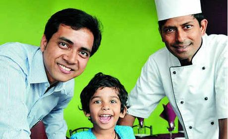 Sajal Barua (left) and award-winning chef Shaikh Akbar Ali, with his daughter Sumaiya, 3, look forward to welcoming customers to their new restaurant at Burnside.