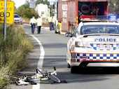 A CYCLIST was killed in a horrific high-speed crash with a truck in Ipswich yesterday afternoon.