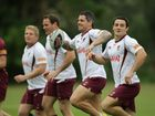 Queensland State of Origin team training at the Coolum Hyatt. Corey Parker (WITH THE BALL).