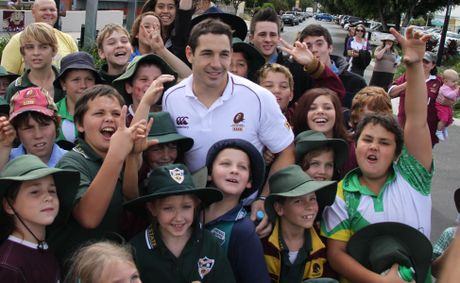 Billy Slater is swamped by Emerald kids for the Marrons Fan Day.