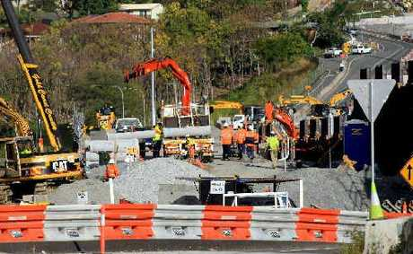 Workers at the Banora Point Pacific Highway upgrade were preparing the new bridge at Minjungbal Dr for the installation of the super-t girders on July 4, 2011.