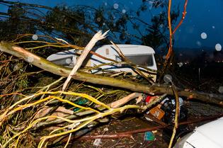 Two cars and a caravan were crushed after a tornado swept through Waikanae on the Kapiti Coast.