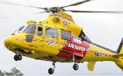 The Westpac Life Saving Rescue Helicopter in flight.