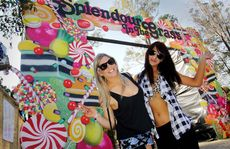 'Lauren Mekis and Samantha Borg from Melbourne begin the Splendour in the Grass experience on Thursday.