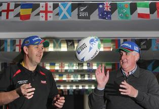 Nigel McPherson, owner of Sports World Te Puke, and Focus Te Puke spokesman Mark Boyle (right) are gearing up to host Namibia.