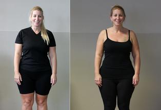 Vanessa at week one (left) and her progress to week six (right).