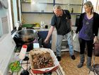 Gary Maszlik and Jirina Havel inspect the kitchen of the Bourbong St home.