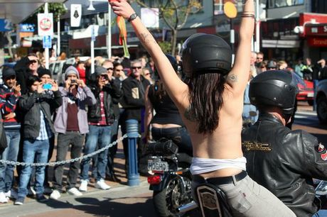 Fans get a glimpse at the Boobs on Bikes parade at Tauranga.