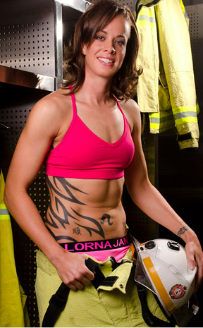 FIRE POWER: Logan Thunder WNBL captain Kristen Veal features in this year's female firefighters calendar.
