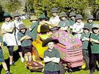 Students of Corndale Public School with their new painted mower. They are hoping the paint job will deter thieves.