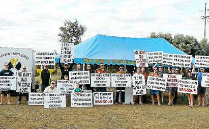 Moranbah North miners are protesting accommodation arrangements.