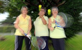 JUBILANT: Clive Tennis Club life members Lynda Watson, Linda Chambers and Colleen McIntyre celebrate the club's winning of Tennis New Zealand's club with the best increased membership award.