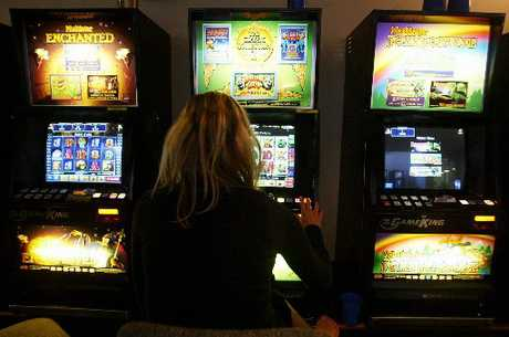 An unidentified woman at a pokie room.