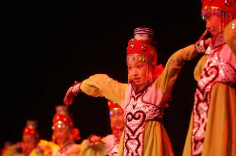 Members of the Yantai Children's Palace Troupe perform at Tauranga Boy's College performing arts centre.