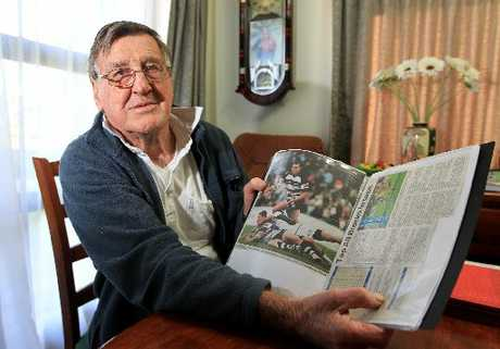 THAT'S OUR BOY: Pat Dagg, Israel Dagg's grandfather, shows off a scrapbook of the Hawke's Bay star's career highlights.PHOTO/PAUL TAYLOR
