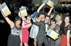 Coral Coast Pharmacies' Amanda Warren, Amie Lloyd-Jones, Katie-Jay McLeod, Scott Williams, Nina Aplin, Donna Walc and Mandy Finch at the 2011 Business Excellence Awards.
